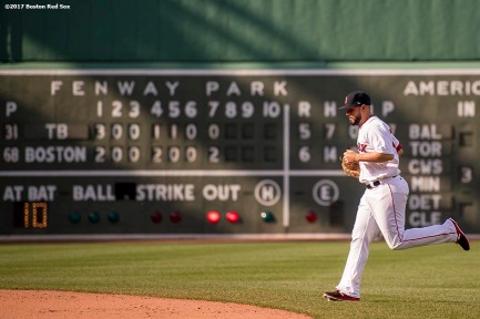BOSTON, MA - APRIL 16: Robby Scott #63 of the Boston Red Sox enters the game during the eighth inning of a game against the Tampa Bay Rays on April 16, 2017 at Fenway Park in Boston, Massachusetts. (Photo by Billie Weiss/Boston Red Sox/Getty Images) *** Local Caption *** Robby Scott