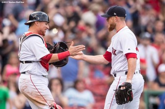BOSTON, MA - APRIL 16: Craig Kimbrel #46 of the Boston Red Sox reacts with Christian Vazquez #7 after recording the final out during the ninth inning of a game against the Tampa Bay Rays on April 16, 2017 at Fenway Park in Boston, Massachusetts. (Photo by Billie Weiss/Boston Red Sox/Getty Images) *** Local Caption *** Craig Kimbrel; Christian Vazquez