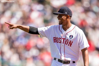 BOSTON, MA - APRIL 17: Xander Bogaerts #2 of the Boston Red Sox reacts during the seventh inning of a game against the Tampa Bay Rays on April 17, 2017 at Fenway Park in Boston, Massachusetts. (Photo by Billie Weiss/Boston Red Sox/Getty Images) *** Local Caption *** Xander Bogaerts
