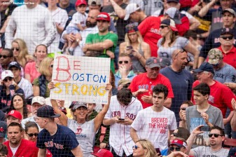 BOSTON, MA - APRIL 17: A fan holds a sign reading 'Be Boston Strong' during a game between the Boston Red Sox and the Tampa Bay Rays on April 17, 2017 at Fenway Park in Boston, Massachusetts. (Photo by Billie Weiss/Boston Red Sox/Getty Images) *** Local Caption ***