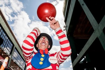 April 19, 2017, Boston, MA: A clown entertains fans during Little League Opening Day at Fenway Park in Boston, Massachusetts Wednesday, April 19, 2017. (Photo by Billie Weiss/Boston Red Sox)
