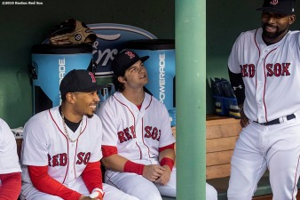 BOSTON, MA - APRIL 26: Mookie Betts #50, Andrew Benintendi #16, and Jackie Bradley Jr. #19 of the Boston Red Sox talk in the dugout before a game against the New York Yankees on April 26, 2017 at Fenway Park in Boston, Massachusetts. (Photo by Billie Weiss/Boston Red Sox/Getty Images) *** Local Caption *** Mookie Betts; Andrew Benintendi; Jackie Bradley Jr.