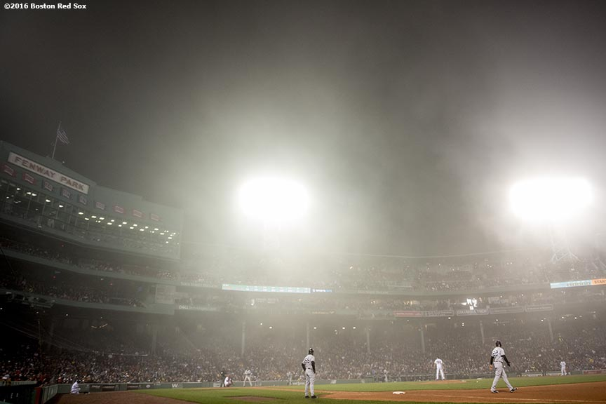 BOSTON, MA - APRIL 26: Fog forms over the field during a game between the Boston Red Sox and the New York Yankees on April 26, 2017 at Fenway Park in Boston, Massachusetts. (Photo by Billie Weiss/Boston Red Sox/Getty Images) *** Local Caption ***