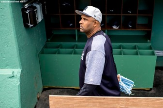 BOSTON, MA - APRIL 27: CC Sabathia #52 of the New York Yankees walks in the dugout before a game against the Boston Red Sox on April 27, 2017 at Fenway Park in Boston, Massachusetts. (Photo by Billie Weiss/Boston Red Sox/Getty Images) *** Local Caption *** CC Sabathia