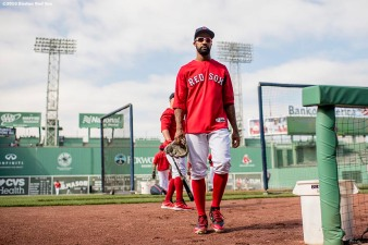 BOSTON, MA - APRIL 27: Chris Young #30 of the Boston Red Sox walks toward the dugout before a game against the New York Yankees on April 27, 2017 at Fenway Park in Boston, Massachusetts. (Photo by Billie Weiss/Boston Red Sox/Getty Images) *** Local Caption *** Chris Young