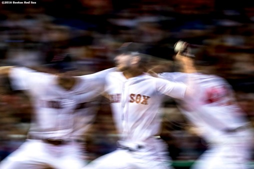 BOSTON, MA - APRIL 27: (EDITOR'S NOTE: Image was created using multiple exposure in camera.) Chris Sale #41 of the Boston Red Sox delivers during the sixth inning of a game against the New York Yankees on April 27, 2017 at Fenway Park in Boston, Massachusetts. (Photo by Billie Weiss/Boston Red Sox/Getty Images) *** Local Caption *** Chris Sale