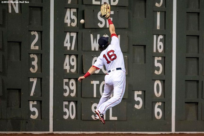 BOSTON, MA - APRIL 27: Andrew Benintendi #16 of the Boston Red Sox misses a catch during the seventh inning of a game against the New York Yankees on April 27, 2017 at Fenway Park in Boston, Massachusetts. (Photo by Billie Weiss/Boston Red Sox/Getty Images) *** Local Caption *** Andrew Benintendi