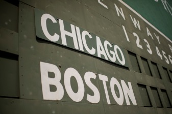 BOSTON, MA - APRIL 28: The green monster scoreboard is shown before a game between the Boston Red Sox and the Chicago Cubs on April 28, 2017 at Fenway Park in Boston, Massachusetts. (Photo by Billie Weiss/Boston Red Sox/Getty Images) *** Local Caption ***
