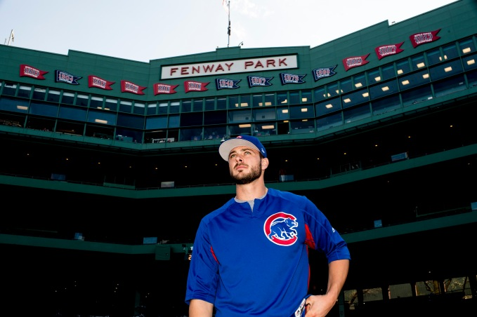 BOSTON, MA - APRIL 28: Kris Bryant #17 of the Chicago Cubs looks on before a game against the Boston Red Sox on April 28, 2017 at Fenway Park in Boston, Massachusetts. (Photo by Billie Weiss/Boston Red Sox/Getty Images) *** Local Caption *** Kris Bryant