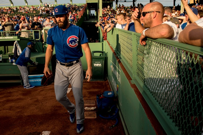 BOSTON, MA - APRIL 28: Jake Arrieta #49 of the Chicago Cubs warms up in the bullpen before a game against the Boston Red Sox on April 28, 2017 at Fenway Park in Boston, Massachusetts. (Photo by Billie Weiss/Boston Red Sox/Getty Images) *** Local Caption ***Jake Arrieta