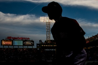 BOSTON, MA - APRIL 28: Xander Bogaerts #2 of the Boston Red Sox runs onto the field before a game against the Chicago Cubs on April 28, 2017 at Fenway Park in Boston, Massachusetts. (Photo by Billie Weiss/Boston Red Sox/Getty Images) *** Local Caption ***Xander Bogaerts