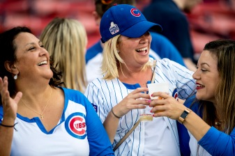 BOSTON, MA - APRIL 28: Fans of the Chicago Cubs cheer during a game against the Boston Red Sox on April 27, 2017 at Fenway Park in Boston, Massachusetts. (Photo by Billie Weiss/Boston Red Sox/Getty Images) *** Local Caption ***