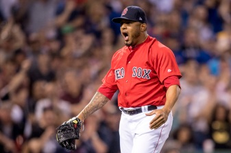 BOSTON, MA - APRIL 28: Fernando Abad #58 of the Boston Red Sox reacts after striking out a batter during the eighth inning of a game against the Chicago Cubs on April 27, 2017 at Fenway Park in Boston, Massachusetts. (Photo by Billie Weiss/Boston Red Sox/Getty Images) *** Local Caption *** Fernando Abad