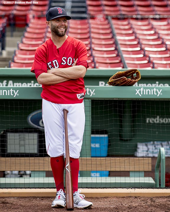 BOSTON, MA - APRIL 29: Dustin Pedroia #15 of the Boston Red Sox reacts before a game against the Chicago Cubs on April 29, 2017 at Fenway Park in Boston, Massachusetts. (Photo by Billie Weiss/Boston Red Sox/Getty Images) *** Local Caption *** Dustin Pedroia