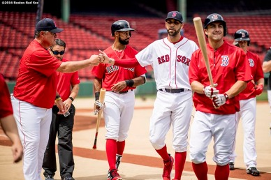 BOSTON, MA - APRIL 29: David Price #24 of the Boston Red Sox high fives manager John Farrell after throwing a simulated game before a game against the Chicago Cubs on April 29, 2017 at Fenway Park in Boston, Massachusetts. (Photo by Billie Weiss/Boston Red Sox/Getty Images) *** Local Caption *** David Price; John Farrell