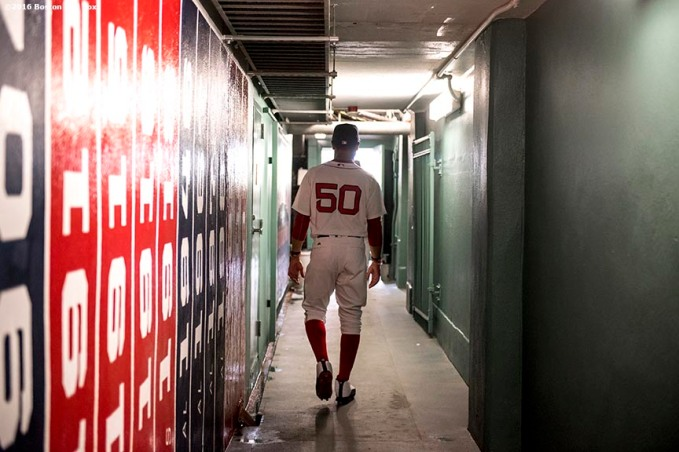 BOSTON, MA - APRIL 29: Mookie Betts #50 of the Boston Red Sox walks out of the clubhouse before a game against the Chicago Cubs on April 29, 2017 at Fenway Park in Boston, Massachusetts. (Photo by Billie Weiss/Boston Red Sox/Getty Images) *** Local Caption *** Mookie Betts