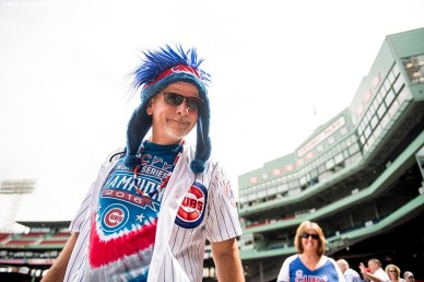BOSTON, MA - APRIL 29: A Chicago Cubs fan reacts before a game against the Boston Red Sox on April 29, 2017 at Fenway Park in Boston, Massachusetts. (Photo by Billie Weiss/Boston Red Sox/Getty Images) *** Local Caption ***