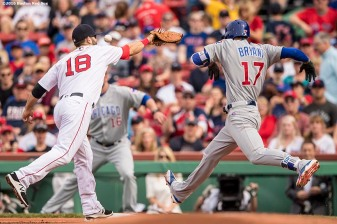 BOSTON, MA - APRIL 29: Mitch Moreland #18 of the Boston Red Sox misses an overthrown ball as Kris Bryant #17 of the Chicago Cubs advances to first base during the first inning of a game on April 29, 2017 at Fenway Park in Boston, Massachusetts. (Photo by Billie Weiss/Boston Red Sox/Getty Images) *** Local Caption *** Mitch Moreland; Krist Bryant