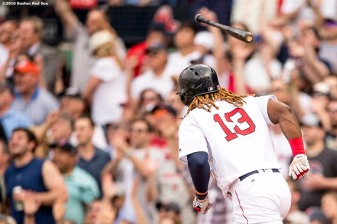 BOSTON, MA - APRIL 29: Hanley Ramirez #13 of the Boston Red Sox flips his bat after hitting a solo home run during the third inning of a game against the Chicago Cubs on April 29, 2017 at Fenway Park in Boston, Massachusetts. (Photo by Billie Weiss/Boston Red Sox/Getty Images) *** Local Caption *** Hanley Ramirez