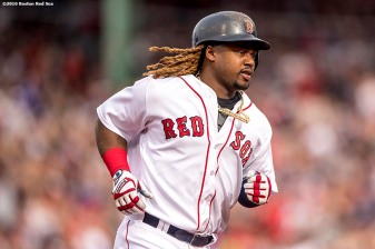 BOSTON, MA - APRIL 29: Hanley Ramirez #13 of the Boston Red Sox rounds the bases after hitting a solo home run during the third inning of a game against the Chicago Cubs on April 29, 2017 at Fenway Park in Boston, Massachusetts. (Photo by Billie Weiss/Boston Red Sox/Getty Images) *** Local Caption *** Hanley Ramirez