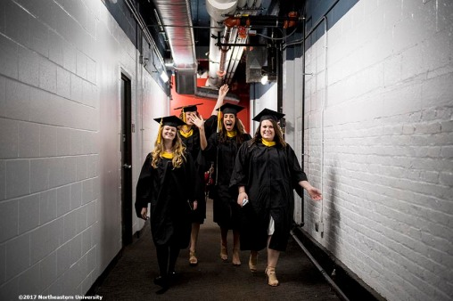 05/05/17 - BOSTON, MA. - Northeastern University celebrated its 115th Commencement on May 5, 2017. President Joseph E. Aoun led the graduate ceremony, which was held in Matthews Arena at Northeastern in Boston. Dave Gilboa and Neil Blumenthal, co-founders and co-CEOs of Warby Parker, delivered the Commencement address and received honorary degrees. Photo by Billie Weiss for Northeastern University