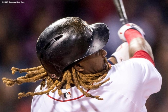 BOSTON, MA - APRIL 30: Hanley Ramirez #13 of the Boston Red Sox hits a two run home run during the first inning of a game against the Chicago Cubs on April 30, 2017 at Fenway Park in Boston, Massachusetts. (Photo by Billie Weiss/Boston Red Sox/Getty Images) *** Local Caption *** Hanley Ramirez