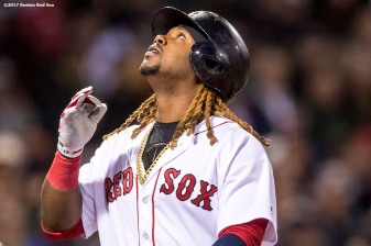 BOSTON, MA - APRIL 30: Hanley Ramirez #13 of the Boston Red Sox reacts after hitting a two run home run during the first inning of a game against the Chicago Cubs on April 30, 2017 at Fenway Park in Boston, Massachusetts. (Photo by Billie Weiss/Boston Red Sox/Getty Images) *** Local Caption *** Hanley Ramirez