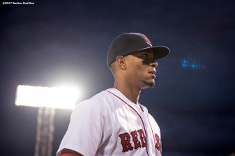 BOSTON, MA - APRIL 30: Xander Bogaerts #2 of the Boston Red Sox looks on before a game against the Chicago Cubs on April 30, 2017 at Fenway Park in Boston, Massachusetts. (Photo by Billie Weiss/Boston Red Sox/Getty Images) *** Local Caption *** Xander Bogaerts