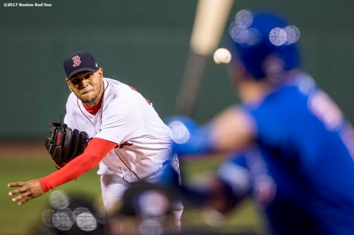 BOSTON, MA - APRIL 30: Eduardo Rodriguez #52 of the Boston Red Sox delivers during the first inning of a game against the Chicago Cubs on April 30, 2017 at Fenway Park in Boston, Massachusetts. (Photo by Billie Weiss/Boston Red Sox/Getty Images) *** Local Caption *** Eduardo Rodriguez