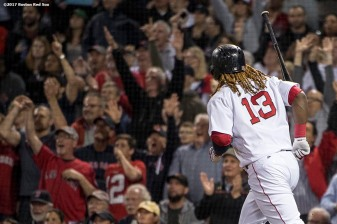 BOSTON, MA - MAY 2: Hanley Ramirez #13 of the Boston Red Sox flips his bat after hitting a solo home run during the sixth inning of a game against the Baltimore Orioles on May 2, 2017 at Fenway Park in Boston, Massachusetts. It was his second home run of the game. (Photo by Billie Weiss/Boston Red Sox/Getty Images) *** Local Caption *** Hanley Ramirez