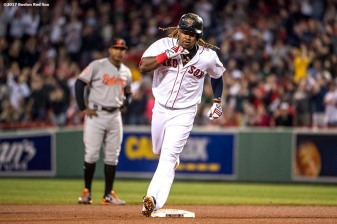 BOSTON, MA - MAY 2: Hanley Ramirez #13 of the Boston Red Sox reacts while rounding the bases after hitting a solo home run during the fourth inning of a game against the Baltimore Orioles on May 2, 2017 at Fenway Park in Boston, Massachusetts. (Photo by Billie Weiss/Boston Red Sox/Getty Images) *** Local Caption *** Hanley Ramirez
