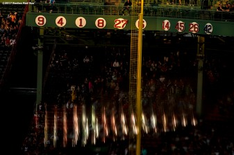 BOSTON, MA - MAY 2: The retired numbers are shown during a game between the Boston Red Sox and the Baltimore Orioles on May 2, 2017 at Fenway Park in Boston, Massachusetts. (Photo by Billie Weiss/Boston Red Sox/Getty Images) *** Local Caption ***