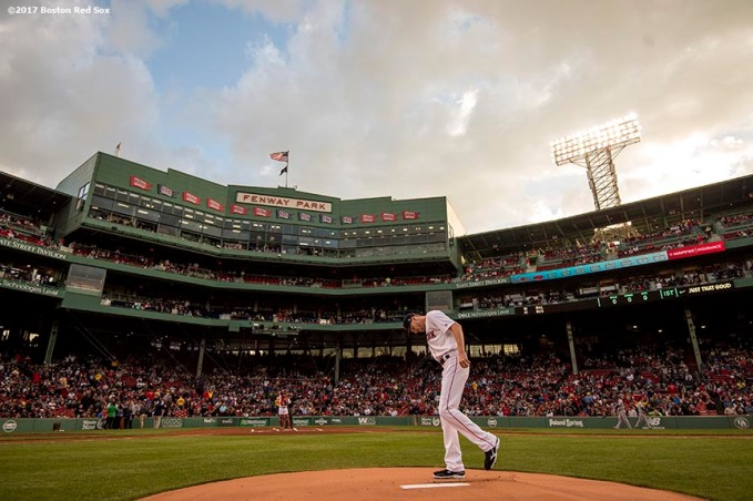 BOSTON, MA - MAY 2: Chris Sale #41 of the Boston Red Sox takes the mound before the first inning of a game against the Baltimore Orioles on May 2, 2017 at Fenway Park in Boston, Massachusetts. (Photo by Billie Weiss/Boston Red Sox/Getty Images) *** Local Caption *** Chris Sale