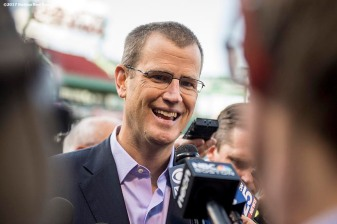 BOSTON, MA - MAY 2: Boston Red Sox President Sam Kennedy speaks with the media before a game against the Baltimore Orioles on May 2, 2017 at Fenway Park in Boston, Massachusetts. (Photo by Billie Weiss/Boston Red Sox/Getty Images) *** Local Caption *** Sam Kennedy