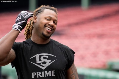BOSTON, MA - MAY 3: Hanley Ramirez #13 of the Boston Red Sox reacts before a game against the Baltimore Orioles on May 3, 2017 at Fenway Park in Boston, Massachusetts. (Photo by Billie Weiss/Boston Red Sox/Getty Images) *** Local Caption *** Hanley Ramirez