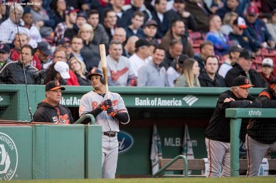 BOSTON, MA - MAY 3: Manny Machado #13 of the Baltimore Orioles waits in the dugout before batting during the first inning of a game against the Boston Red Sox on May 3, 2017 at Fenway Park in Boston, Massachusetts. (Photo by Billie Weiss/Boston Red Sox/Getty Images) *** Local Caption *** Manny Machado