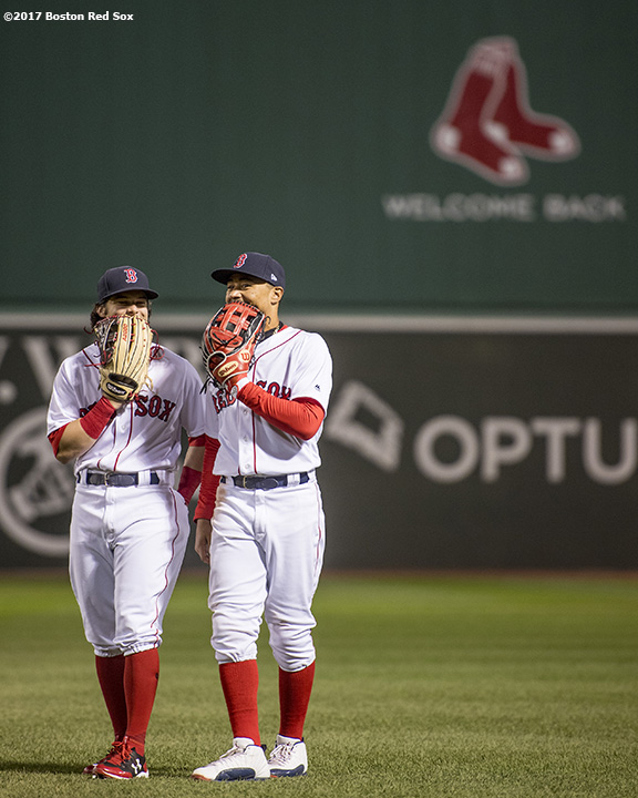BOSTON, MA - MAY 3: Mookie Betts #50 of the Boston Red Sox reacts with Andrew Benintendi #16 during the seventh inning of a game against the Baltimore Orioles on May 3, 2017 at Fenway Park in Boston, Massachusetts. (Photo by Billie Weiss/Boston Red Sox/Getty Images) *** Local Caption *** Andrew Benintendi; Mookie Betts