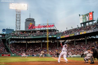 BOSTON, MA - MAY 4: Hanley Ramirez #13 of the Boston Red Sox hits a single during the first inning of a game against the Baltimore Orioles on May 4, 2017 at Fenway Park in Boston, Massachusetts. (Photo by Billie Weiss/Boston Red Sox/Getty Images) *** Local Caption *** Hanley Ramirez