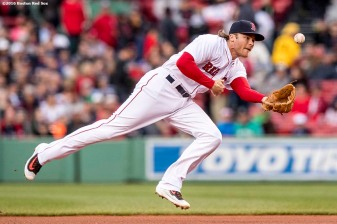 BOSTON, MA - MAY 4: Josh Rutledge #32 of the Boston Red Sox flips the ball during the first inning of a game against the Baltimore Orioles on May 4, 2017 at Fenway Park in Boston, Massachusetts. (Photo by Billie Weiss/Boston Red Sox/Getty Images) *** Local Caption *** Josh Rutledge