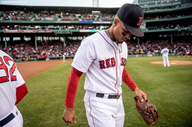 BOSTON, MA - MAY 4: Xander Bogaerts #2 of the Boston Red Sox takes the field before a game against the Baltimore Orioles on May 4, 2017 at Fenway Park in Boston, Massachusetts. (Photo by Billie Weiss/Boston Red Sox/Getty Images) *** Local Caption *** Xander Bogaerts