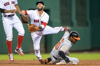 BOSTON, MA - MAY 4: Dustin Pedroia #15 of the Boston Red Sox turns a double play over Adam Jones #10 of the Baltimore Orioles during the third inning of a game on May 4, 2017 at Fenway Park in Boston, Massachusetts. (Photo by Billie Weiss/Boston Red Sox/Getty Images) *** Local Caption *** Dustin Pedroia