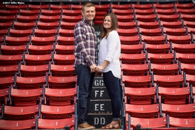 May 6, 2017, Boston, MA: An engagement photo session with Connor & Taylor at Fenway Park in Boston, Massachusetts Saturday, May 6, 2017. (Photo by Billie Weiss)
