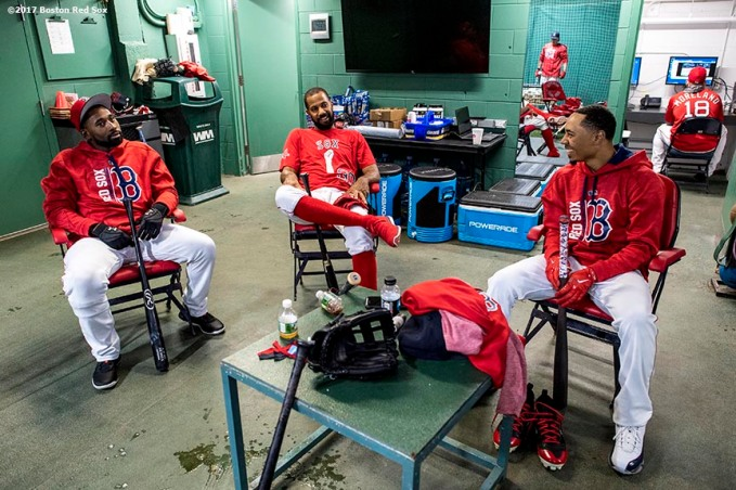 BOSTON, MA - MAY 12: Jackie Bradley Jr. #19, Chris Young #30, and Mookie Betts #50 of the Boston Red Sox sit in the batting cage before a game against the Tampa Bay Rays on May 12, 2017 at Fenway Park in Boston, Massachusetts. (Photo by Billie Weiss/Boston Red Sox/Getty Images) *** Local Caption *** Mookie Betts; Jackie Bradley Jr.; Chris Young