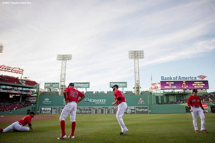 BOSTON, MA - MAY 12: Members of the Boston Red Sox before warm up before a game against the Tampa Bay Rays on May 12, 2017 at Fenway Park in Boston, Massachusetts. (Photo by Billie Weiss/Boston Red Sox/Getty Images) *** Local Caption ***