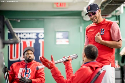BOSTON, MA - MAY 12: Eduardo Rodriguez #52 of the Boston Red Sox reacts as he wears sunglasses before a game against the Tampa Bay Rays on May 12, 2017 at Fenway Park in Boston, Massachusetts. (Photo by Billie Weiss/Boston Red Sox/Getty Images) *** Local Caption *** Eduardo Rodriguez