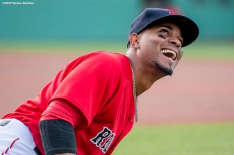 BOSTON, MA - MAY 12: Xander Bogaerts #2 of the Boston Red Sox reacts before a game against the Tampa Bay Rays on May 12, 2017 at Fenway Park in Boston, Massachusetts. (Photo by Billie Weiss/Boston Red Sox/Getty Images) *** Local Caption *** Xander Bogaerts