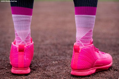 BOSTON, MA - MAY 13: The cleats of Mookie Betts #50 of the Boston Red Sox are shown before a game against the Tampa Bay Rays on May 13, 2017 at Fenway Park in Boston, Massachusetts. (Photo by Billie Weiss/Boston Red Sox/Getty Images) *** Local Caption *** Mookie Betts