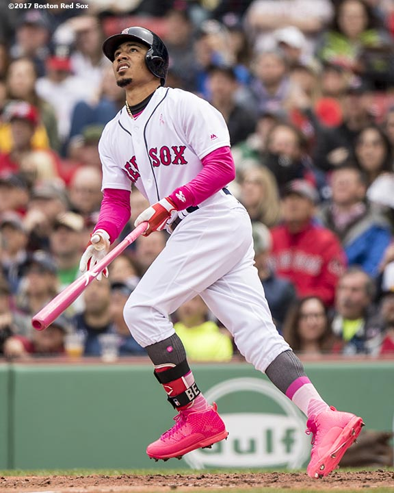 BOSTON, MA - MAY 13: Mookie Betts #50 of the Boston Red Sox hits a two run home run during the third inning of a game against the Tampa Bay Rays on May 13, 2017 at Fenway Park in Boston, Massachusetts. (Photo by Billie Weiss/Boston Red Sox/Getty Images) *** Local Caption *** Mookie Betts