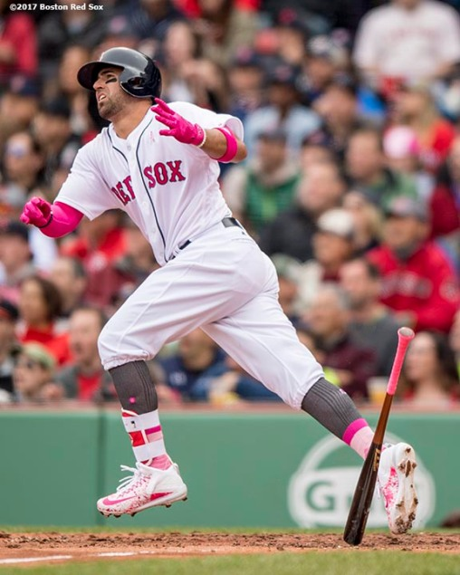 BOSTON, MA - MAY 13: Deven Marrero #17 of the Boston Red Sox hits an RBI double during the fifth inning of a game against the Tampa Bay Rays on May 13, 2017 at Fenway Park in Boston, Massachusetts. (Photo by Billie Weiss/Boston Red Sox/Getty Images) *** Local Caption *** Deven Marrero