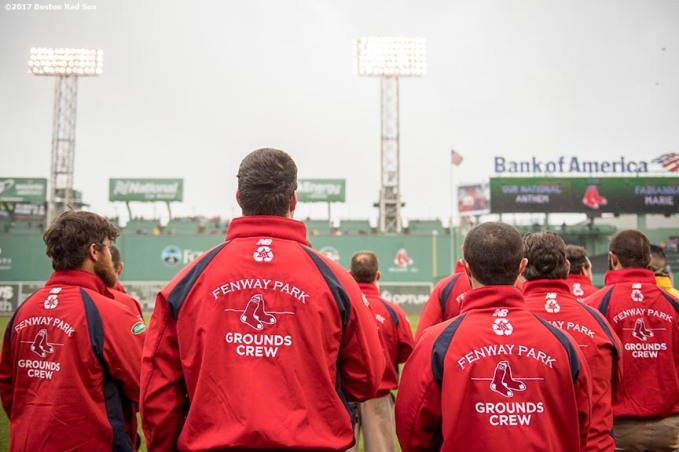 BOSTON, MA - MAY 14: Members of the Boston Red Sox grounds crew look on before a game against the Tampa Bay Rays on May 14, 2017 at Fenway Park in Boston, Massachusetts. (Photo by Billie Weiss/Boston Red Sox/Getty Images) *** Local Caption ***